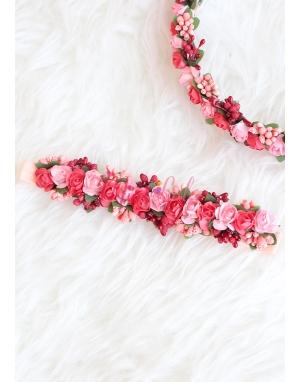 Nar çiçeği bordo renk tomurcuk mini güllü tamtur taçlı anne kız takımı