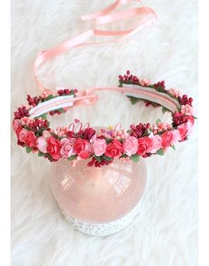 Nar çiçeği bordo renk tomurcuk mini güllü tamtur taç
