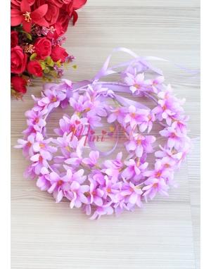 Lila renk sümbül çiçekli tamtur taçlı anne kız takımı
