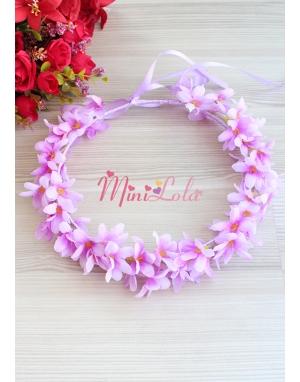 Lila renk sümbül çiçekli tamtur taç