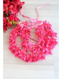Fuşya renk sümbül çiçekli tamtur taçlı anne kız takımı