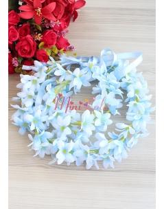 Mavi renk sümbül çiçekli tamtur taçlı anne kız takımı