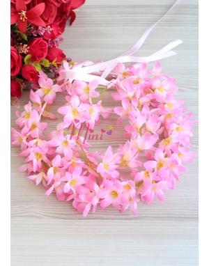 Pembe renk sümbül çiçekli tamtur taçlı anne kız takımı