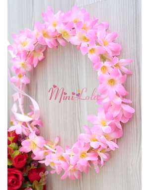 Pembe renk sümbül çiçekli tamtur taç