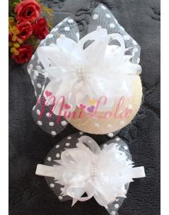 Beyaz fiyonk süslemeli beyaz puantiye tüllü incili anne kız takımı