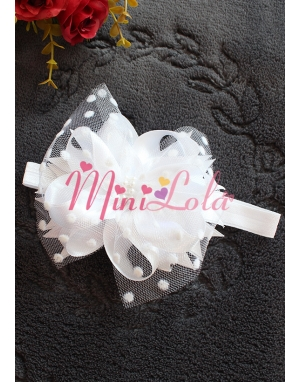 Beyaz fiyonk süslemeli beyaz puantiye tüllü incili saç bandı