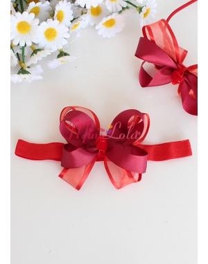 Kırmızı katlı fiyonklu süslemeli saç bandı