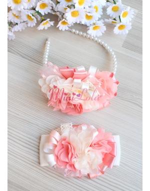 Somon krem renk şifon çiçekli dantel süslemeli zarif anne kız takımı