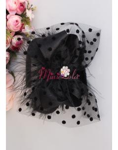 Siyah renk fiyonklu puantiye tül tüy süslemeli mini çiçek taşlı şık taç