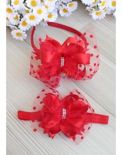 Kırmızı renk fiyonk süslemeli puantiye tüllü taşlı anne kız takımı