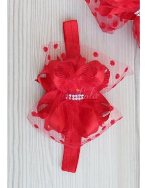 Kırmızı renk fiyonk süslemeli puantiye tüllü taşlı saç bandı