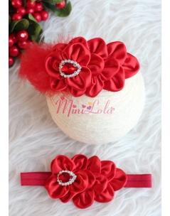 Kırmızı tüylü çiçek desenli taç saç bandı seti
