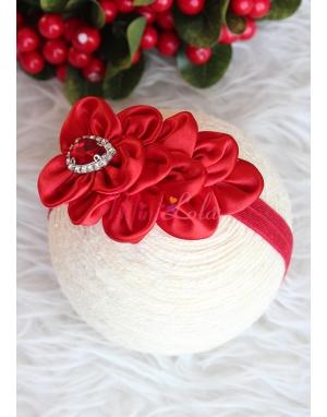 Kırmızı tüylü çiçek desenli saç bandı