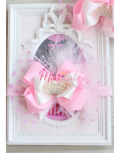 Pembe krem renkli puantiye tüllü prenses taş detaylı saç bandı