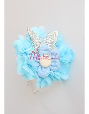 Mavi kelebek taşlı çiçekli taç