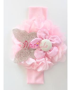 Pembe kelebek taşlı çiçekli saç bandı