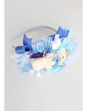 Mavi kral ayıcıklı süslemeli şirin lohusa seti