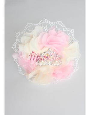 Pembe krem çiçekli dantelli inci prenses taşlı taç