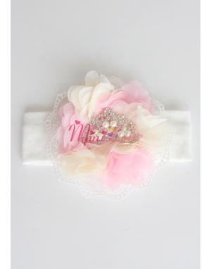 Pembe krem çiçekli dantelli inci prenses taşlı saç bandı