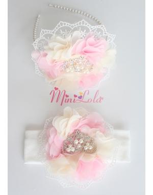 Pembe krem çiçekli dantelli inci prenses taşlı anne kız takımı
