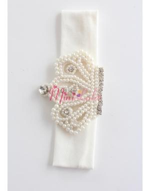 Vintage kraliçe taç desenli saç bandı
