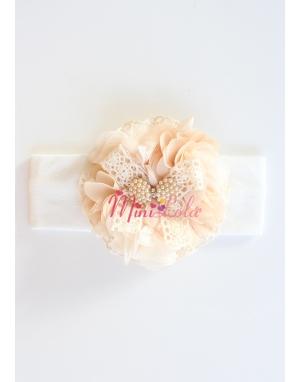Krem sütlü kahve süslemeli dantelli inci fiyonklu saç bandı