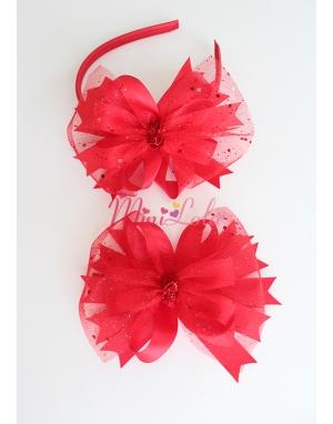 Kırmızı fiyonk katlı simli tül süslemeli şık anne kız takımı