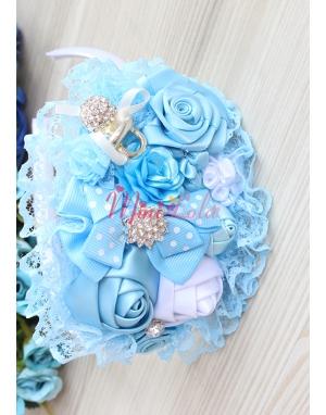 Mavi dantelli gül çiçekli emzik gümüş taş süslü taç