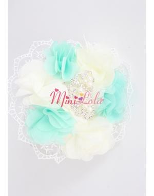 Su yeşili krem çiçekli dantelli inci prenses taşlı taç