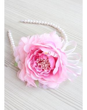Pembe geniş şakayık güllü şifon çiçek süslemeli taç