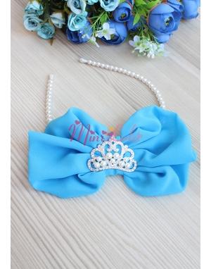 Mavi inci prenses taş fiyonklu taç