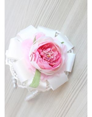 Krem pembe şakayık güllü dantel çiçek süslemeli taç