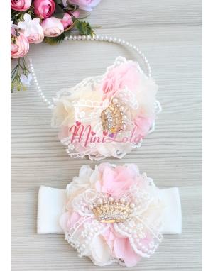 Pudra krem renk çiçekli incili taşlı dantelli anne kız takımı