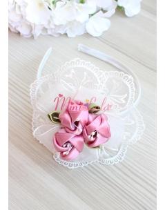 Gülkurusu renk gül çiçekli krem dantel süslemeli taç