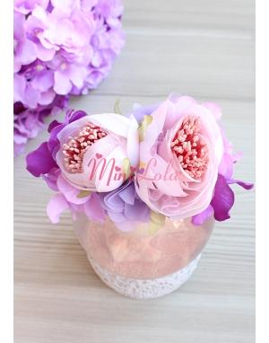 Mor lila renk şakayık ortanca çiçekli şık taç