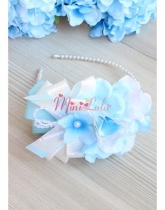 Mavi krem ortanca çiçekli şık fiyonk inci süslemeli taç