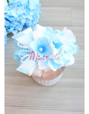 Mavi krem ortanca çiçekli şık fiyonk inci süslemeli lohusa seti