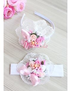 Pembe beyaz pudra renk gül çiçekli dantel süslemeli anne kız takımı