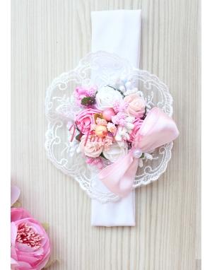 Pembe beyaz pudra renk gül çiçekli dantel süslemeli saç bandı