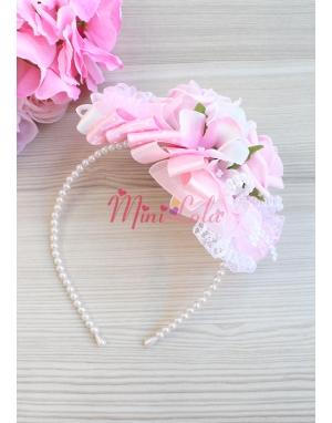 Pembe beyaz soft renkli gül ortanca çiçekli inci detaylı şık lohusa seti
