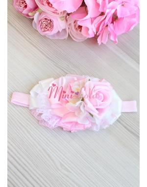 Pembe beyaz soft renkli gül ortanca çiçekli inci detaylı şık saç bandı