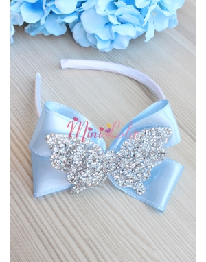 Mavi renk fiyonklu gümüş kelebek taş süslü zarif taç