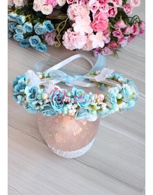 Mini güllü krem ortanca tomurcuk çiçekli tamtur taç