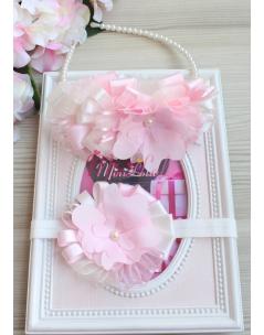 Krem pembe renk süslemeli inci çiçek detaylı şık anne kız takımı