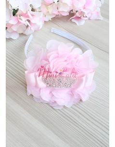 Pembe şifon çiçekli gümüş prenses taş süslü şık taç