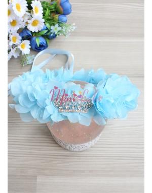 Mavi şifon çiçekli gümüş prenses taş süslü şık taç