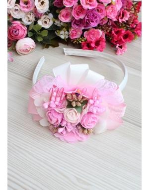 Krem pembe çiçek süslü dore tomurcuklu süslü taç