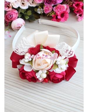 Kırmızı krem gül çiçekli kurdela dantel süslemeli taç