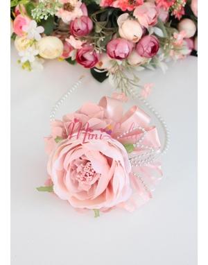 Pudra renk şakayık güllü çiçek gümüş detaylı şık taç