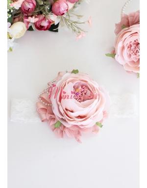 Pudra renk şakayık güllü çiçek gümüş detaylı şık saç bandı